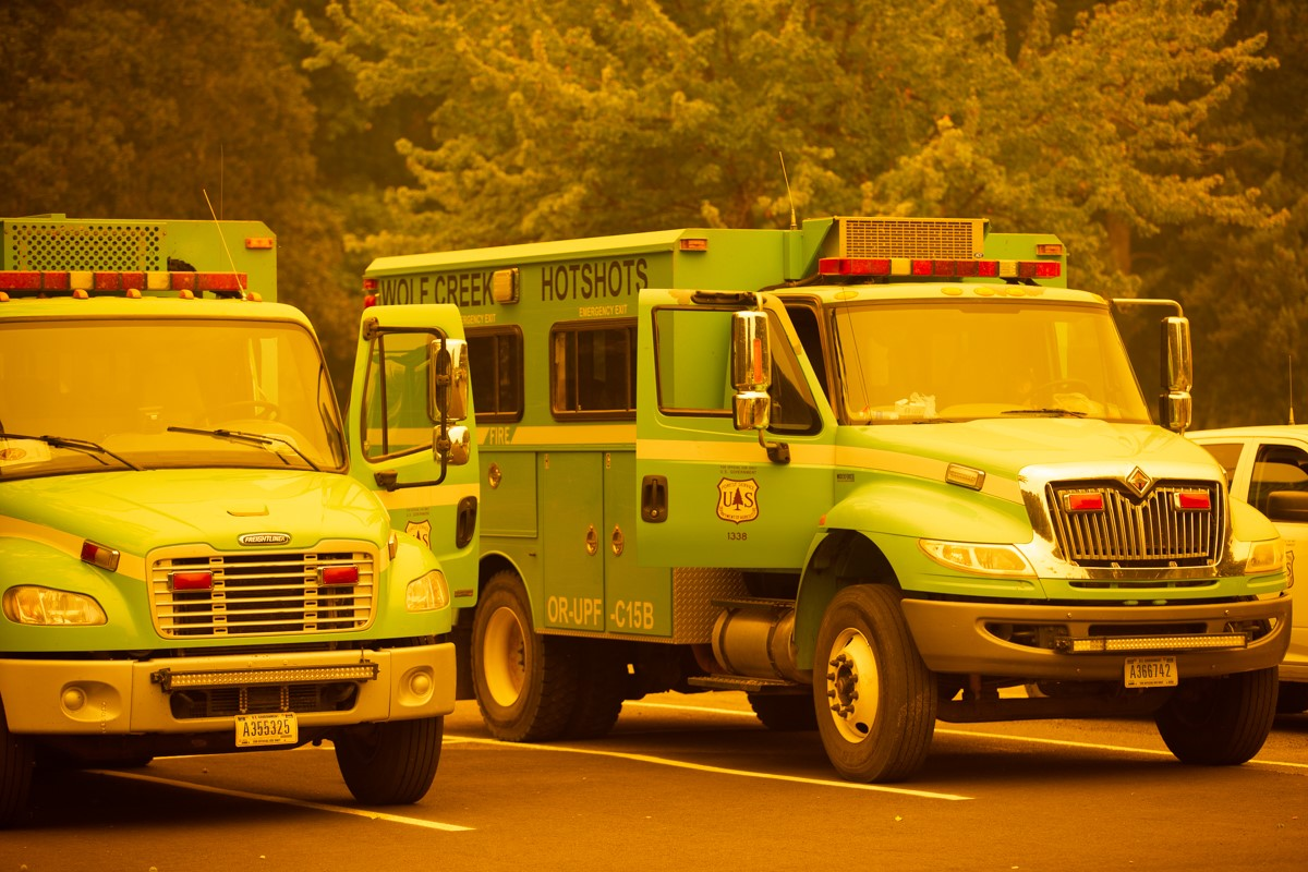 Wildfire vehicles using Salem Campus as staging area